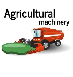 The combine is harvesting the agricultural vector