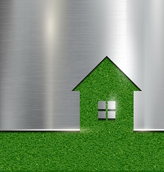 The contour of the house on a grass background vector