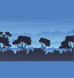 Tree silhouette on the jungle scenery vector