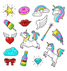 Unicorns icon set vector