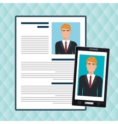 Man smartphone find person cv vector