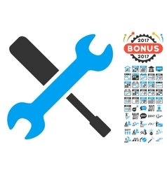 Tools icon with 2017 year bonus pictograms vector