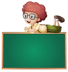 A boy at the top of a board vector image
