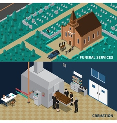 Funeral services isometric banners vector