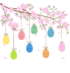 Eggs on blooming spring tree vector