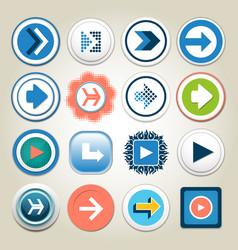 arrow 3d button icon set vector image