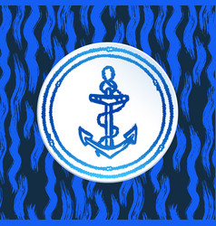 Ink hand drawn anchor on abstract sea pattern vector