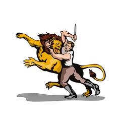 Man Fighting Lion Retro vector image