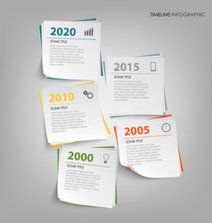 Time line info graphic with abstract note paper vector