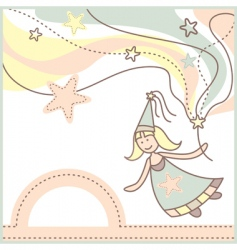 Baby card with lovely fairy vector
