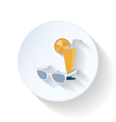 Sunglasses and cocktail flat icon vector