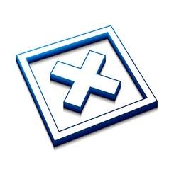 3d cross mark icon vector image vector image