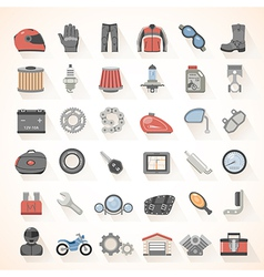 Flat icons motorcycle gear vector