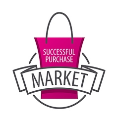 Logo shopping bag on the market vector
