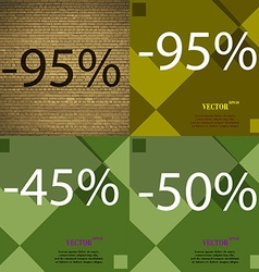 95 45 50 icon set of percent discount on abstract vector