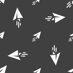Paper airplane icon sign seamless pattern on a vector