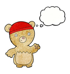 Cartoon teddy bear wearing hat with thought bubble vector