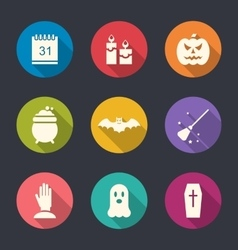 Party flat icons with halloween vector