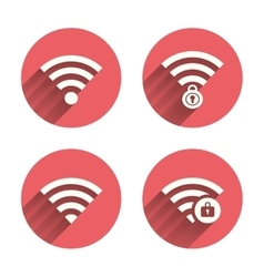 Wifi wireless network icons wi-fi zone locked vector