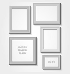 Photo frame with shadow on a grey wall vector
