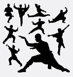 Wushu male and female martial art silhouettes vector