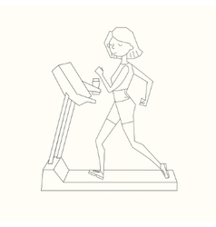 Girl run treadmill black and white color vector