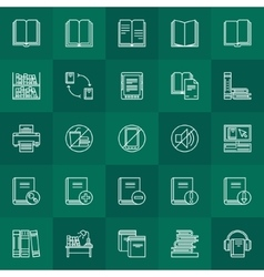 Library outline icons vector