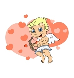 Little cupid flying 3 vector