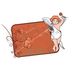Grunge floral frame with angel vector