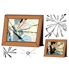 Broken frame and effects of broken glass vector