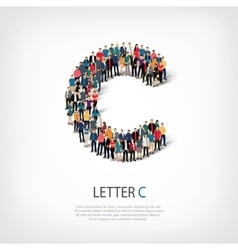 Group people shape letter c vector