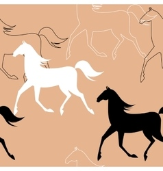 Seamless pattern with running horses vector