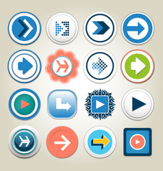 arrow 3d button icon set vector image