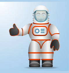 Astronaut in a white suit cartoon style vector
