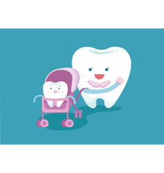 Baby tooth and mom tooth vector