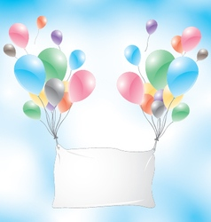 Balloons with white sign on a blue sky background vector image