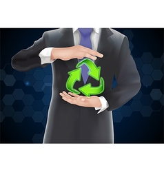 Businessman with icons green arrows vector image