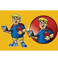 Cartoon of genius boy bring the laptop and books vector