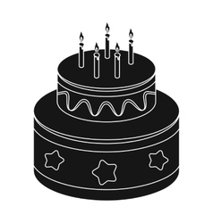 Chocolate cake with stars icon in black style vector image vector image
