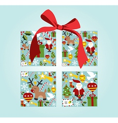Christmas icon set in gift box shape vector image
