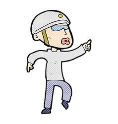 Comic cartoon man in bike helmet pointing vector