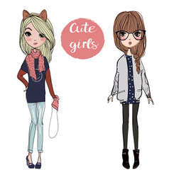 cute cartoon girls vector image vector image