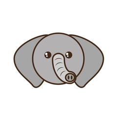 Cute elephant face kawaii style vector