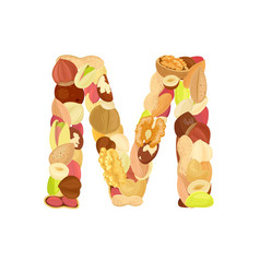 delicious letter made from different nuts m vector image