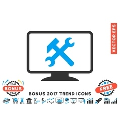 Desktop settings flat icon with 2017 bonus trend vector