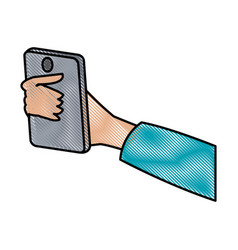 Drawing hand holding smartphone digital design vector