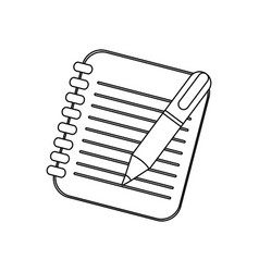 figure notebook with pen icon vector image