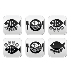 Fish and chips buttons set vector