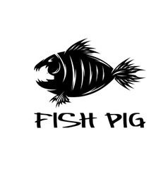 Fish and pig negative space concept vector