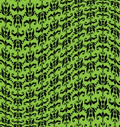Green black warped damask pattern vector